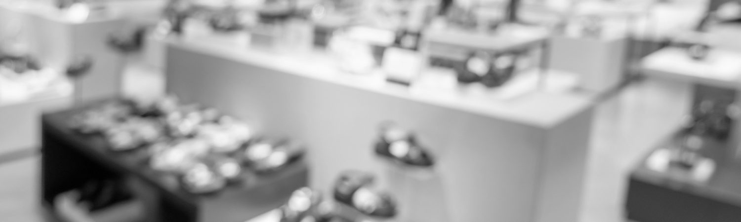 defocus shot of shoes on shelf in the store